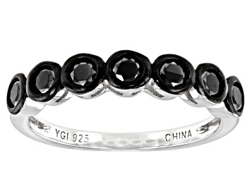 Picture of Black Spinel Rhodium Over Silver Band Ring 0.61ctw