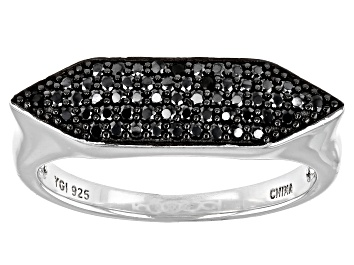 Picture of Black Spinel Rhodium Over Silver Ring 0.5ctw