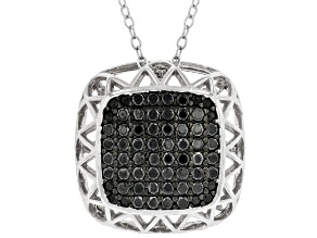 Black Spinel Rhodium Over Silver Pendant With Chain 0.65ctw