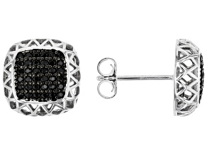 Black Spinel Rhodium Over Silver Earrings 0.47ctw