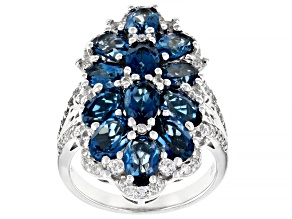 London Blue Topaz Rhodium Over Silver Ring 6.86ctw