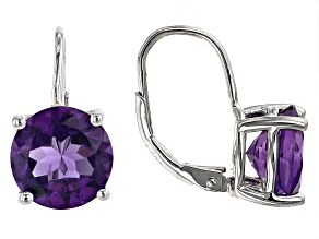 Purple Amethyst Rhodium Over Sterling Silver Earrings 7.25ctw