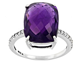 Purple Amethyst Rhodium Over Sterling Silver Ring 9.07ctw