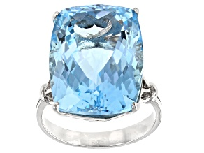 Sky Blue Topaz Rhodium Over Sterling Silver Ring 25.00ct