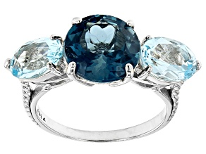 London Blue Topaz Rhodium Over Sterling Silver 3 Stone Ring 6.00ctw
