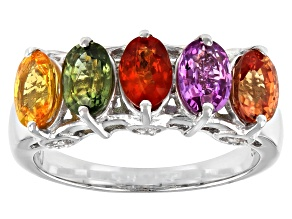 Multi Color Sapphire Rhodium Over Sterling Silver 5-Stone Ring 2.95ctw