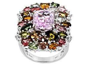 Pink Kunzite Rhodium Over Silver Ring 11.65ctw