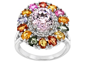 Pink Kunzite Rhodium Over Silver Ring 6.80ctw