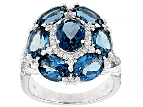 London Blue Topaz Rhodium Over Silver Ring 6.80ctw