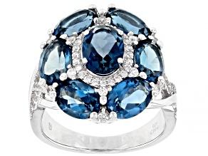 London Blue Topaz Rhodium Over Silver Ring 6.80ctw