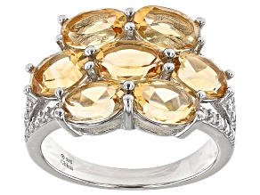 Citrine Rhodium Over Sterling Silver Cluster Ring 2.00ctw