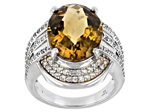 Citrine Rhodium Over Sterling Silver Ring 7.15ctw
