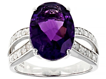 Picture of Purple African Amethyst Rhodium Over Sterling Silver Ring 5.30ctw