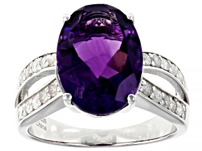 Purple African Amethyst Rhodium Over Sterling Silver Ring 5.30ctw