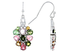 Multi Color Tourmaline Rhodium Over Sterling Silver Cluster Earrings 4.50ctw