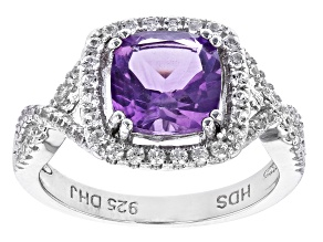 Purple Amethyst Rhodium Over Sterling Silver Ring 2.34ctw