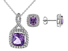 Purple Amethyst Rhodium Over Silver Pendant and Earring Set 4.34ctw