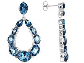 London Blue Topaz Rhodium Over Silver Earrings 19.78ctw