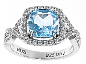 Sky Blue Topaz Rhodium Over Sterling Silver Ring 2.84ctw