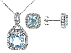 Sky Blue Topaz Rhodium Over Silver Pendant and Earring Set 5.09ctw