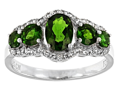 Chrome Diopside Rhodium Over Silver Ring 1.96ctw