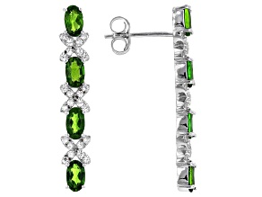 Chrome Diopside Rhodium Over Silver Earrings 2.51ctw