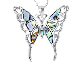 Abalone Shell Rhodium Over Silver Butterfly Pendant W/Chain