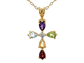 Sky Blue Topaz 18K Yellow Gold Over Bronze Pendant With Chain. 1.78ctw
