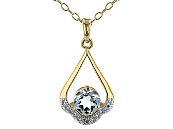 Picture of Sky Blue Topaz 18K Yellow Gold Over Bronze Pendant With Chain. 1.30ctw