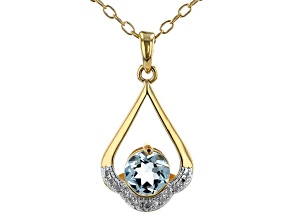 Sky Blue Topaz 18K Yellow Gold Over Bronze Pendant With Chain. 1.30ctw