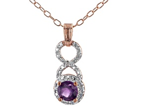 Purple Amethyst 18K Rose Gold Over Bronze Pendant with Chain. 0.65ctw