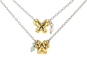 Rose Quartz 18K Yellow Gold & Sterling Silver Over Bronze Necklaces. 0.34ctw
