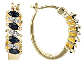 Black Sapphire 18K Yellow Gold Over Bronze Earrings. 0.64ctw
