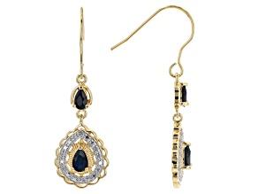 Midnight Sapphire 18K Yellow Gold Over Bronze Earrings 1.20ctw