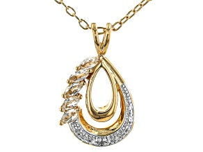 White Topaz 18K Yellow Gold Over Bronze Pendant with Chain. 0.27ctw