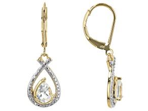 White Topaz 18K Yellow Gold Over Bronze Earrings. 1.28ctw