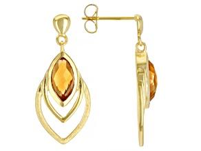 Orange Madeira Citrine 18K Yellow Gold Over Sterling Silver Earrings. 1.44ctw
