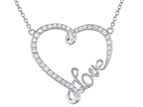 White Lab Created Sapphire Rhodium Over Sterling Silver Heart Shaped Love Necklace .32ctw