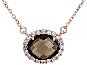 Brown Smoky Quartz 18K Rose Gold Over Sterling Silver Necklace 2.50ctw