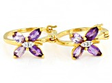 Purple African and Brazilian Amethyst 18K Yellow Gold Over Sterling Silver Earrings 1.29ctw