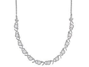 White Lab Created Sapphire Rhodium Over Sterling Silver Bolo Necklace 1.35ctw