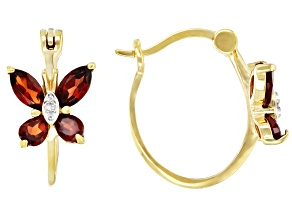 Red Garnet with Diamond Accent 18K Yellow Gold Over Sterling Silver Hoop Earrings. 1.74ctw