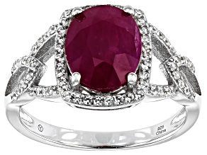 Red Burmese Ruby Rhodium Over Silver Ring 4.28ctw
