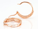 White Lab Created Sapphire 18k Rose Gold Over Sterling Silver Hoop Earrings 1.95ctw