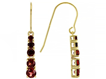 Picture of Red Garnet 18K Yellow Gold Over Sterling Silver Earrings. 1.93ctw