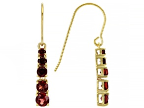 Red Garnet 18K Yellow Gold Over Sterling Silver Earrings. 1.93ctw