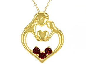 Red Garnet 18K Yellow Gold Over Sterling Silver Pendant with Chain. 0.35ctw