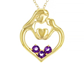 Purple African Amethyst 18K Yellow Gold Over Sterling Silver Pendant with Chain. 0.24ctw