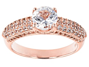 White Lab Created Sapphire 18k Rose Gold Over Sterling Silver Ring 1.70ctw