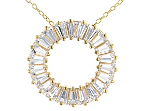 White Lab Created Sapphire 18k Yellow Gold Over Sterling Silver Pendant With Chain 1.87ctw